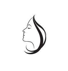 beauty logo beautiful woman silhouette line art vector image