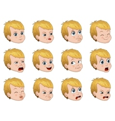 Big set of cute little boy faces showing different vector image