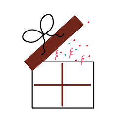 birthday open gift box confetti decoration vector image