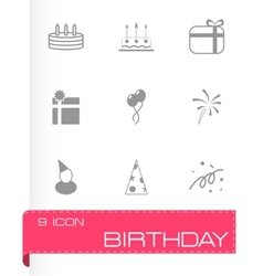 Black birthday icon set vector
