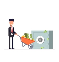 Businessman or manager carries money in vector image