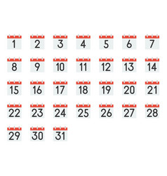 calendar icon with number 1-31 pixel perfect vector image