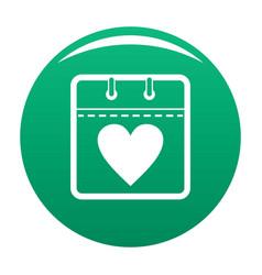 calendar valentine day icon green vector image