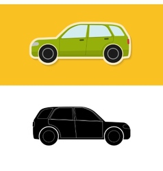 Car icon and silhouette vector image