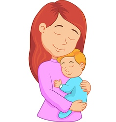 Cartoon mother holding her son vector