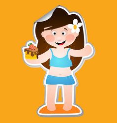 Cheerful girl in a bathing suit with a piece of vector