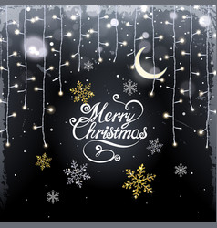 christmas background with glistening garland and vector image