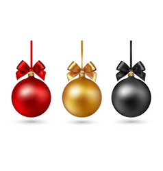 Christmas ball with ribbon and bow on white vector