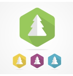 Christmas tree icon set in flat design style vector image