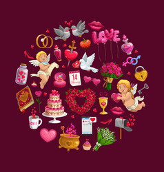 circle valentines day gifts flowers and rings vector image