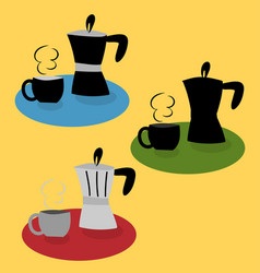 coffee pot with coffee cup in various style vector image