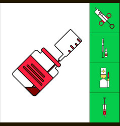 Collection of icons and medical syringes vector