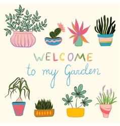 Colortul set of pot plants vector image vector image