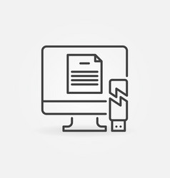 Computer with broken usb drive outline icon vector