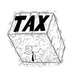 Conceptual cartoon of businessman supporting big vector