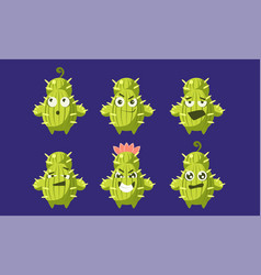 cute cactus characters set funny plants with vector image