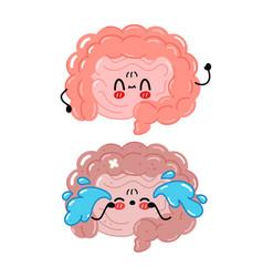 Cute funny and sad intestine organ character vector