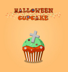 cute happy halloween mint cupcake with grave vector image