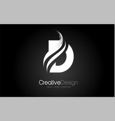 D letter design brush paint stroke on black vector