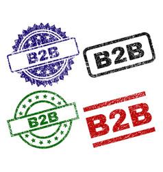 Damaged textured b2b stamp seals vector