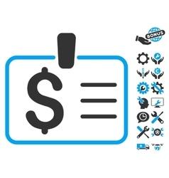 Dollar Badge Flat Icon With Tools Bonus vector