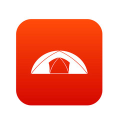 Dome tent for camping icon digital red vector