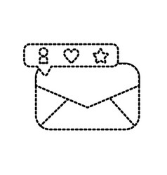 dotted shape e-mail message and bar chat bubble vector image