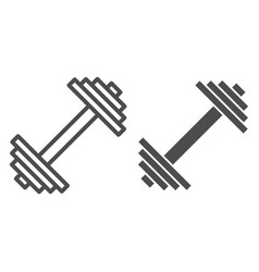 Dumbbell line and glyph icon weights vector