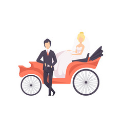 Elegant couple of newlyweds posing in a wedding vector