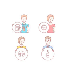 Face detect money currency and article icons vector