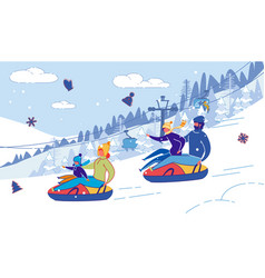 Family with children sliding down hill on tubing vector