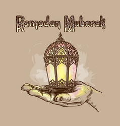 fanus lantern muslim holiday holy month vector image