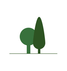 flat green tree icon isolated on white background vector image