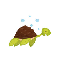 flat icon of swimming turtle marine animal vector image