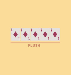 Flat icon on stylish background poker flush vector
