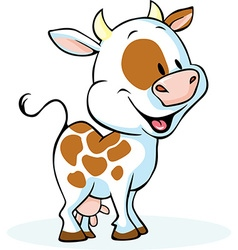 Funny cow cartoon standing and smiling vector