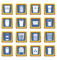 Garbage container icons set blue vector