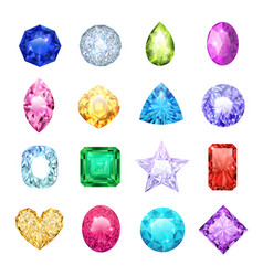 gem realistic icon set vector image
