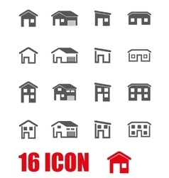 grey house icon set vector image