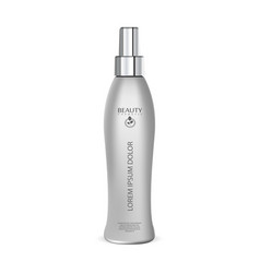 Hair protection spray cosmetic bottle mockup vector
