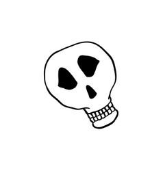 halloween doodle skull element isolated vector image
