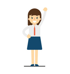happy young woman with hand up gesture vector image