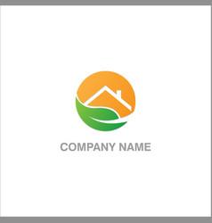 house leaf ecology logo vector image
