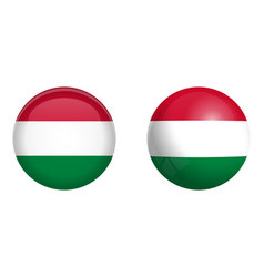 hungary flag under 3d dome button and on glossy vector image