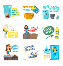 icons for home housework cleaning washing vector image
