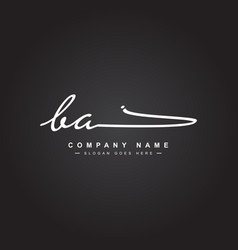 Initial letter ba logo - handwritten signature vector