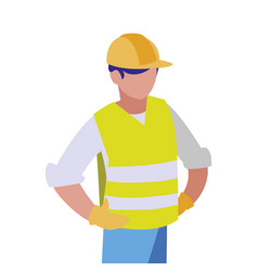 Isolated builder avatar man with yellow helmet vector