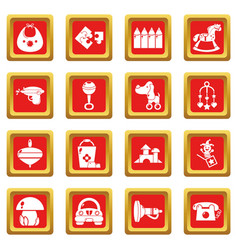 Kindergarten icons set red square vector