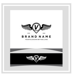 Letter v pin map wing logo design concept vector