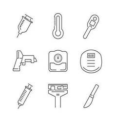 Line Icons Set Of Medical Device Icon vector